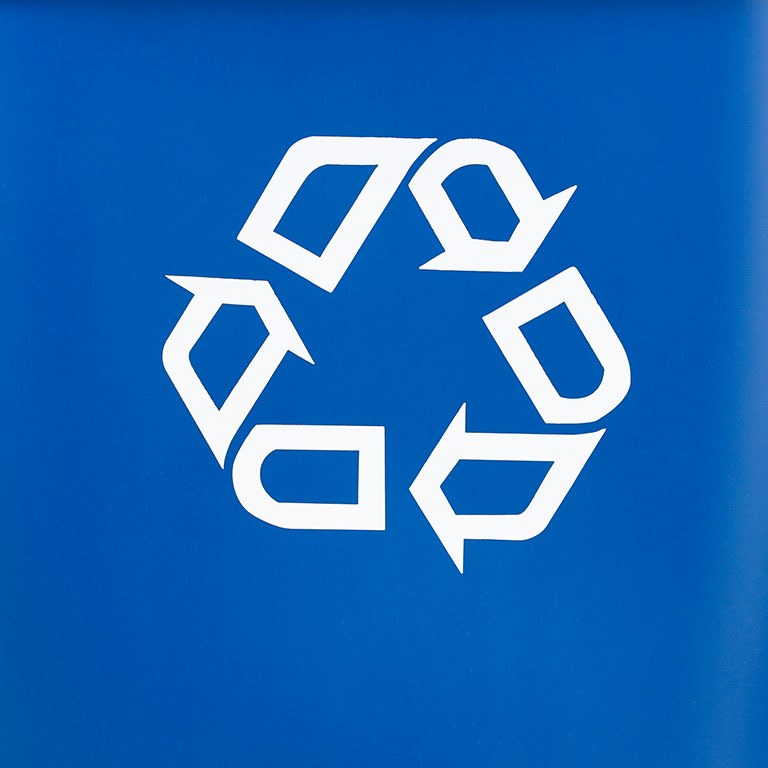 The recycling symbol on a blue background